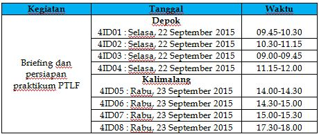 Jadwal Briefing